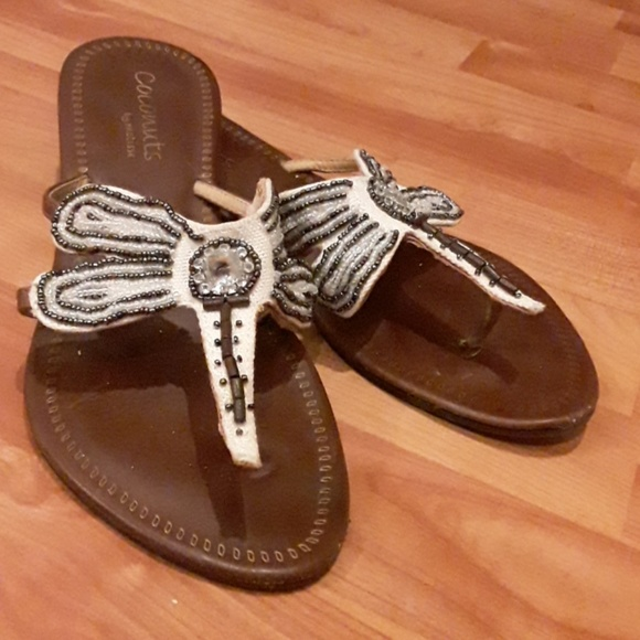 coconuts by Matisse Shoes - Black and whiite Beaded Leather Sandals